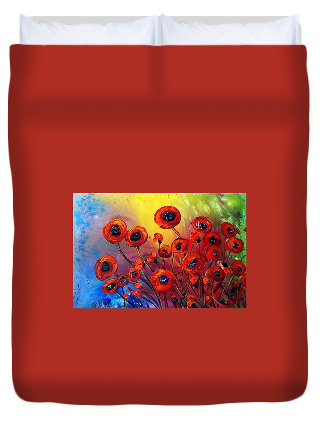 Flowers Duvet Cover featuring the painting Red Poppies In Rain by Luiza Vizoli
