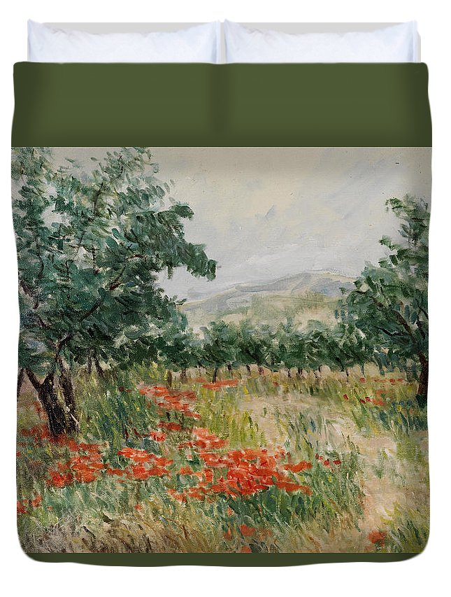 Olive Trees Duvet Cover featuring the painting Red Poppies In The Olive Garden by Gonul Engin YILMAZ