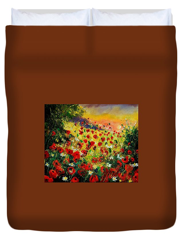 Tree Duvet Cover featuring the painting Red Poppies by Pol Ledent