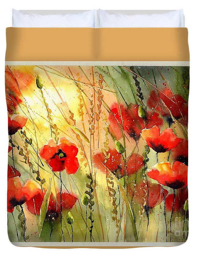 Red Duvet Cover featuring the painting Red Poppies Watercolor by Suzann Sines