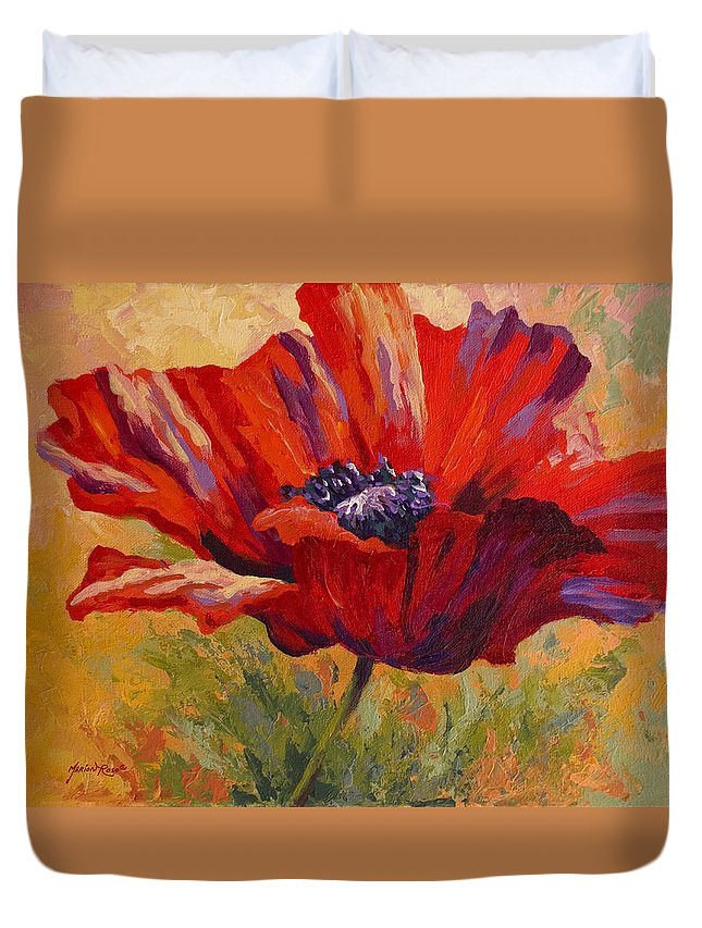 Poppies Duvet Cover featuring the painting Red Poppy II by Marion Rose