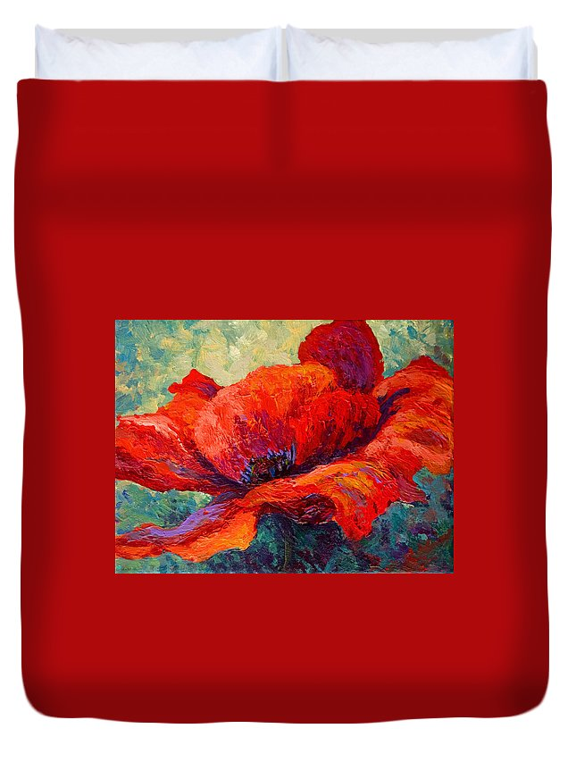 Poppies Duvet Cover featuring the painting Red Poppy IIi by Marion Rose
