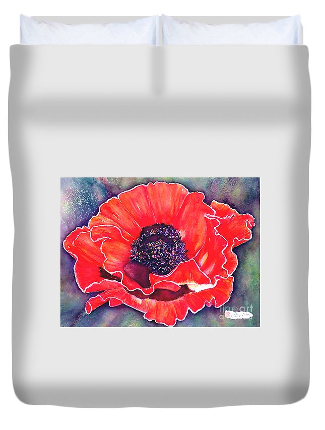 Red Flowers Duvet Cover featuring the painting Red Poppy by Norma Boeckler