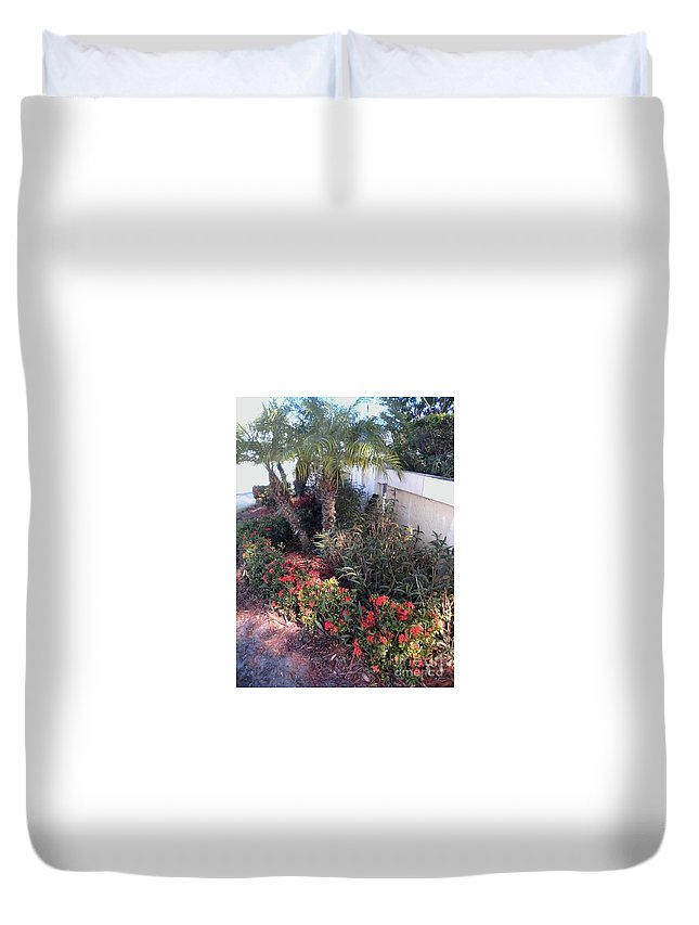 Duvet Cover featuring the painting Red Psl by Dutch MARCHING