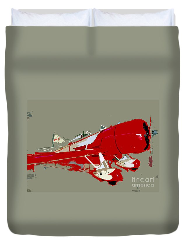 Fast Duvet Cover featuring the painting Red Racer by David Lee Thompson