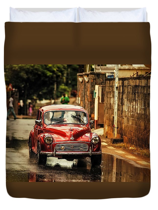 Morris Minor Duvet Cover featuring the photograph Red Retromobile. Morris Minor by Jenny Rainbow