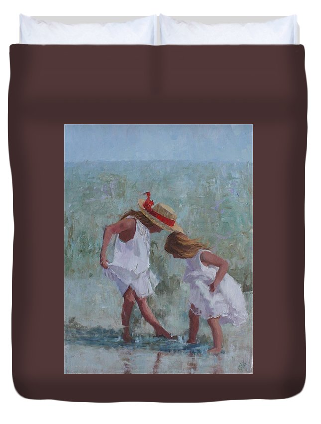 Beach Duvet Cover featuring the painting Red Ribbon by Hope Reis