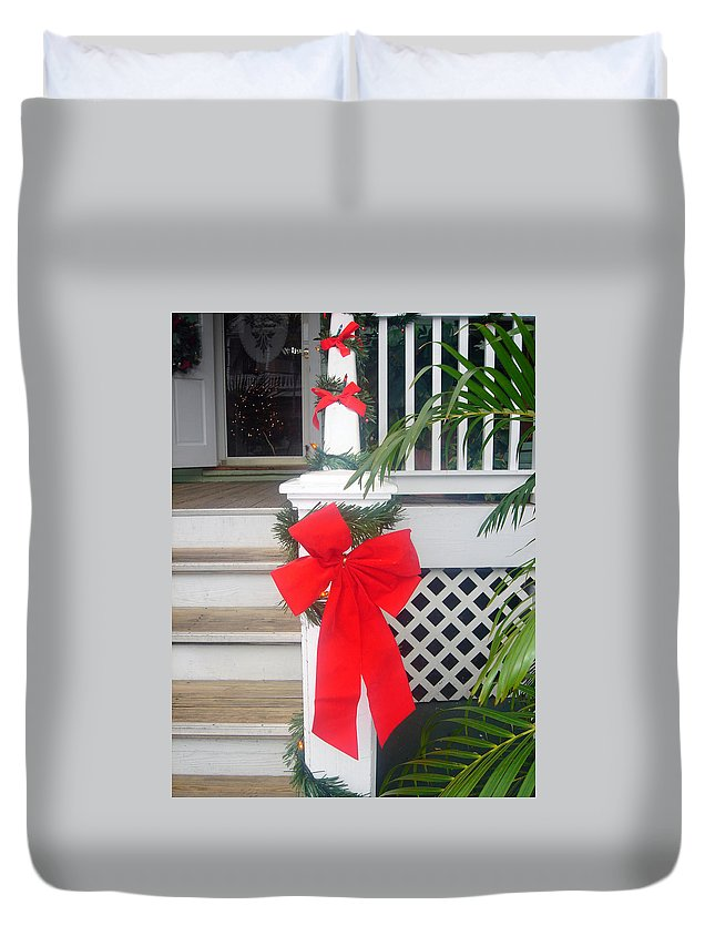 Christmas Ribbon Duvet Cover featuring the photograph Red Ribbon On Steps by Susanne Van Hulst