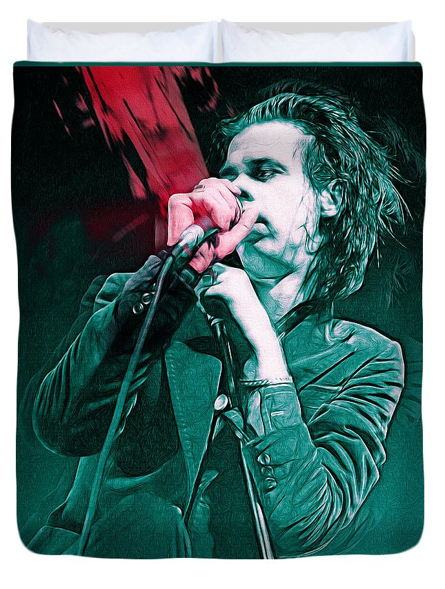 Nick Cave Duvet Cover featuring the mixed media Red Right Hand, Nick Cave by Mal Bray