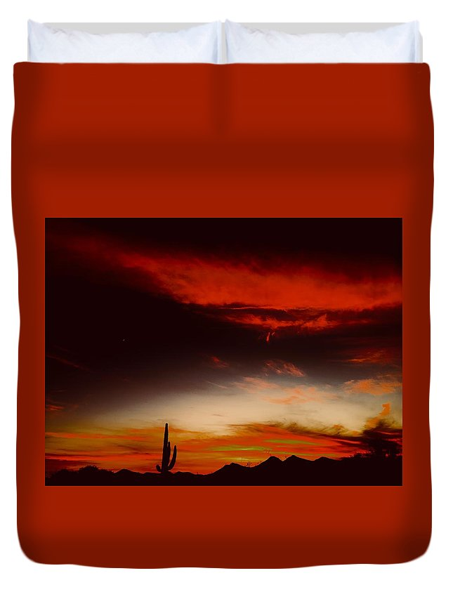 Duvet Cover featuring the photograph Red Rising by Joy Elizabeth