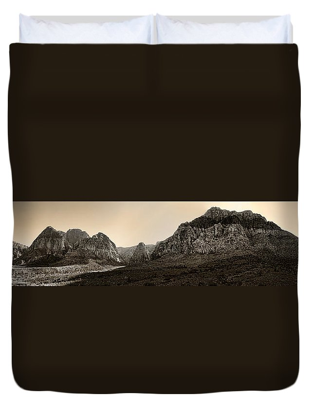 Red Duvet Cover featuring the photograph Red Rock Panorama - Anselized by Ricky Barnard