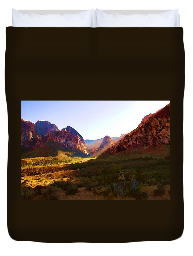 Red Duvet Cover featuring the photograph Red Rock Rays by Ricky Barnard