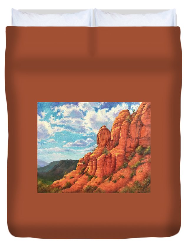 Sedona Duvet Cover featuring the painting Red Rocks by Teri Rosario