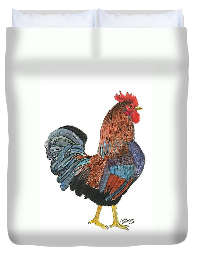 Red Duvet Cover featuring the painting Red Rooster by Sara Stevenson