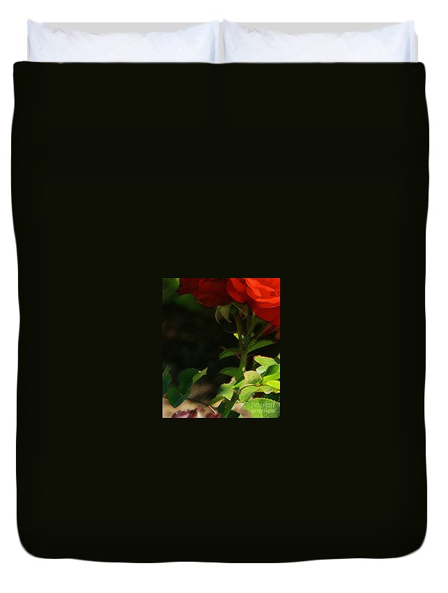 Rose Duvet Cover featuring the photograph Red Rose by Linda Shafer