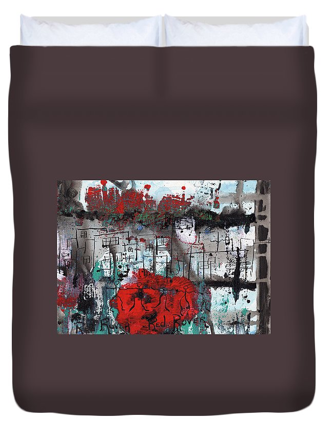 Abstract Duvet Cover featuring the painting Red Rover Red Rover by Wayne Potrafka