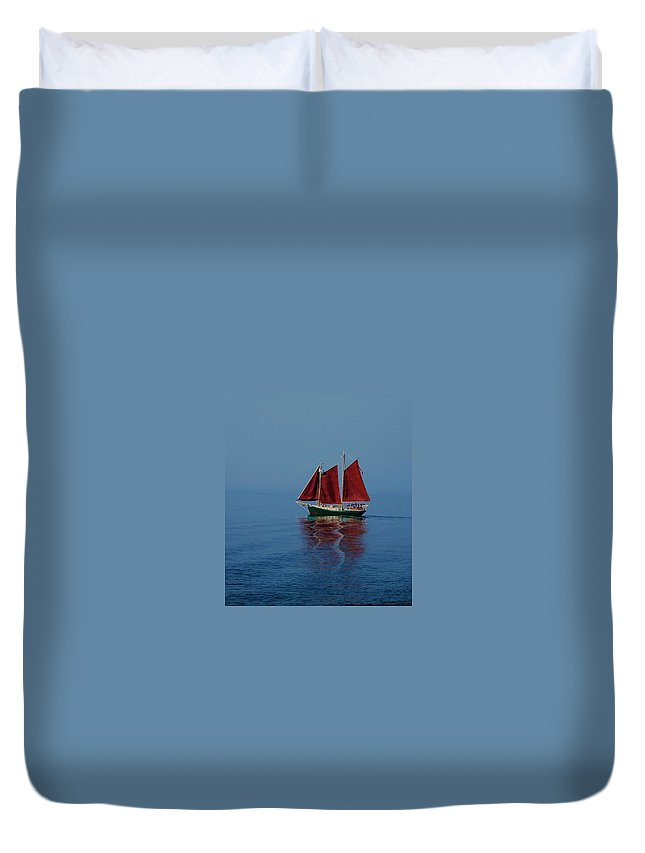 Seascape Duvet Cover featuring the photograph Red Sails On Superior by Robert Coffey
