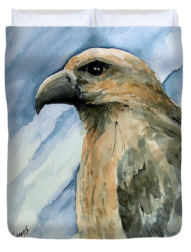 Bird Duvet Cover featuring the painting Red by Sam Sidders