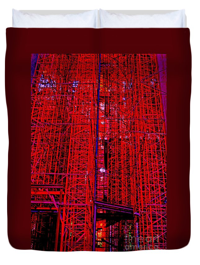 Scaffold Duvet Cover featuring the photograph Red Scaffold by Andy Mercer