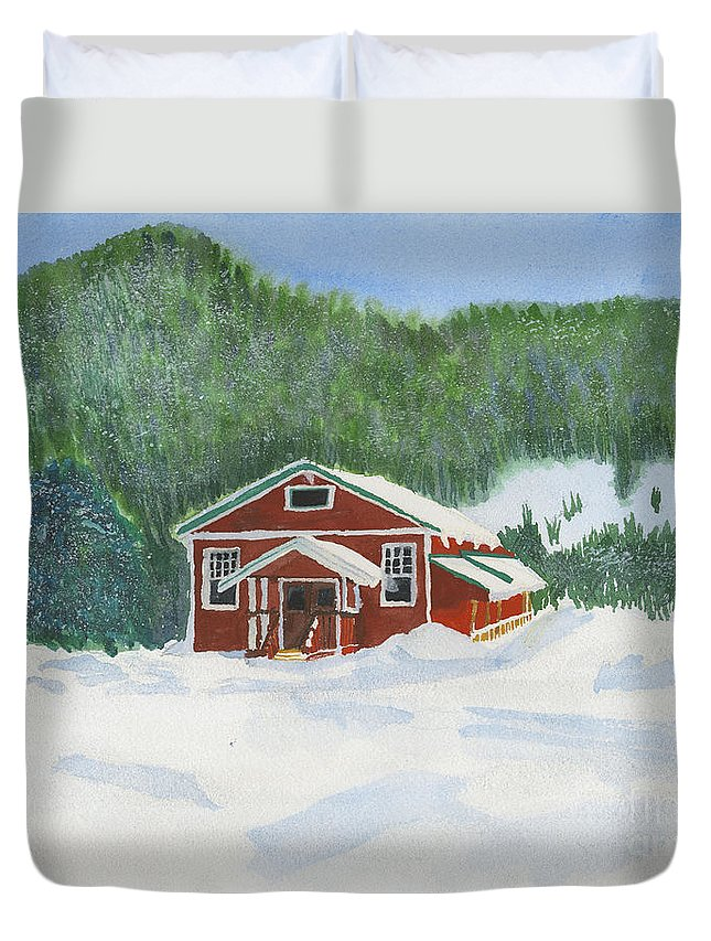 Schoolhouse Duvet Cover featuring the painting Red School House by Louise Magno
