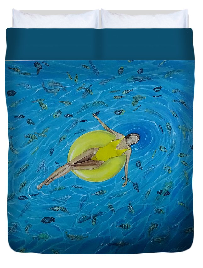 Sea Duvet Cover featuring the painting Red Sea by Polina Kamenska
