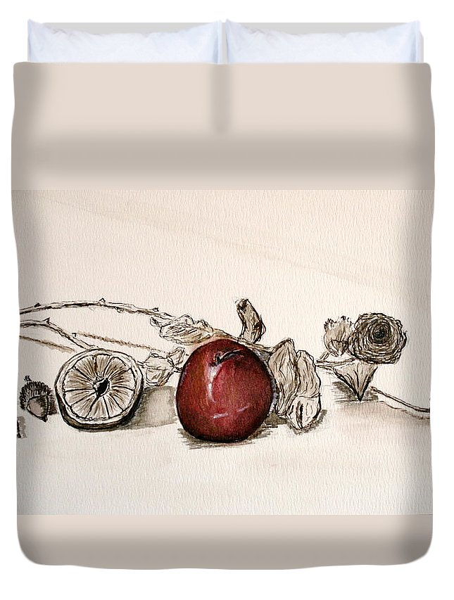 Red Duvet Cover featuring the painting Red Sexy Plum. by Shlomo Zangilevitch