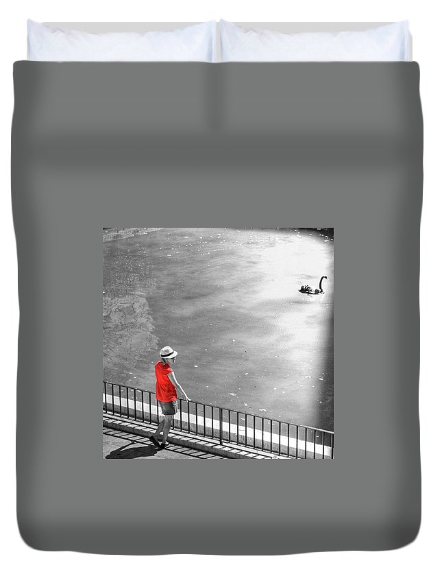 Palmademallorca Duvet Cover featuring the photograph Red Shirt, Black Swanla Seu, Palma De by John Edwards