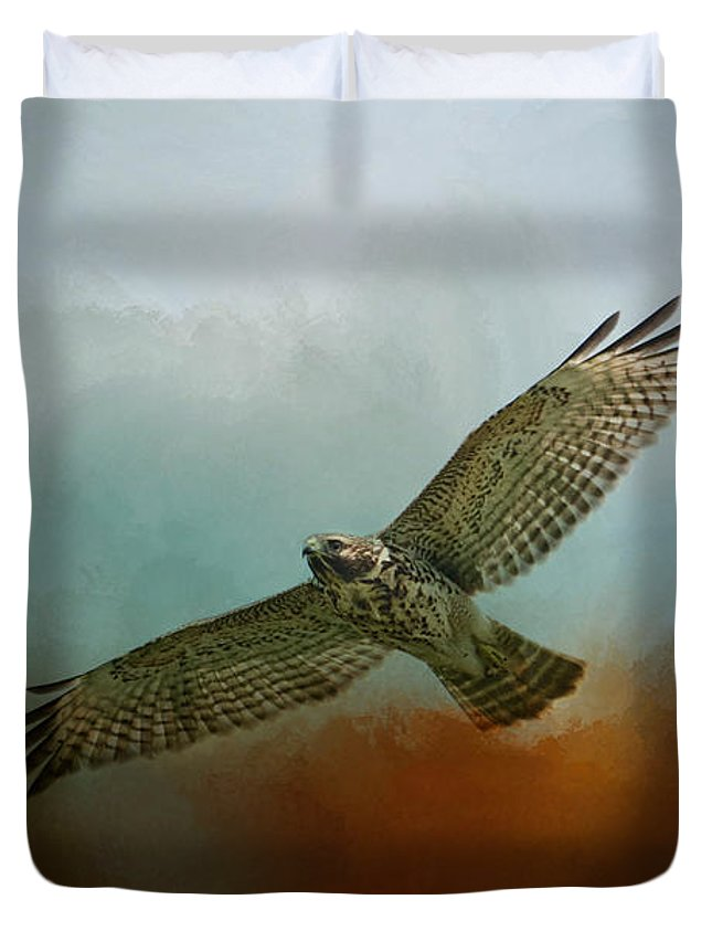 Jai Johnson Duvet Cover featuring the photograph Red Shoulder In Autumn by Jai Johnson