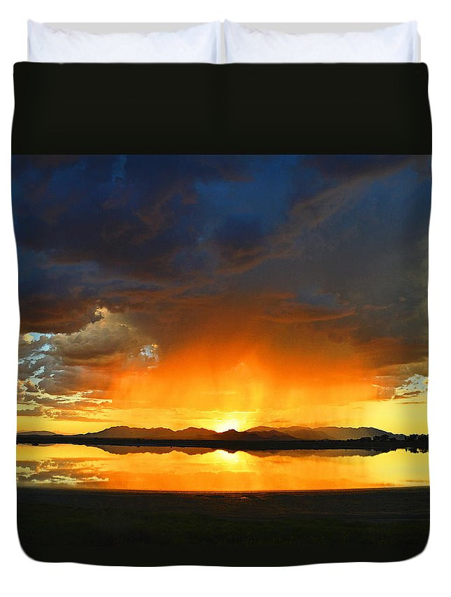 Sunset Duvet Cover featuring the photograph Red Shower by Brent Hall