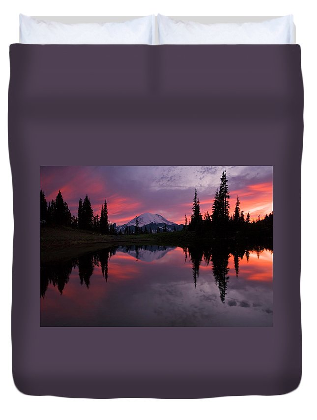 Rainier Duvet Cover featuring the photograph Red Sky at Night by Mike Dawson