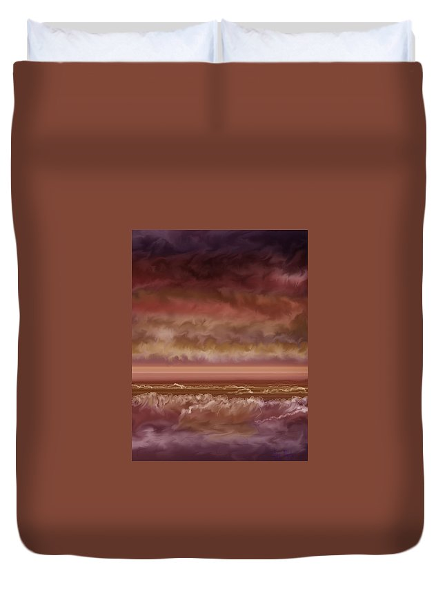 Sunset Duvet Cover featuring the painting Red Sky At Night Sailor Delight by Anne Norskog