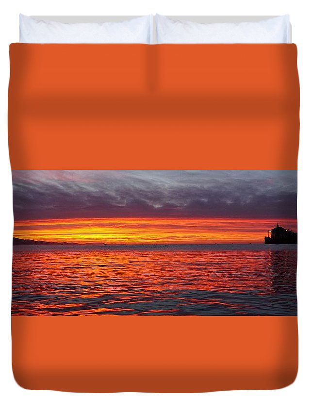 Sunrise Duvet Cover featuring the photograph Red Sky In Morning, Sailor's Warning by John Pierpont