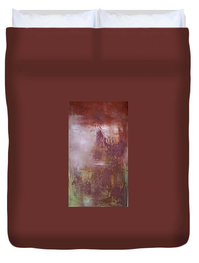 Mixed Media Duvet Cover featuring the painting Red Sky Sold by Elizabeth Klecker