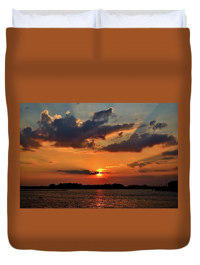Landscape Duvet Cover featuring the photograph Red Sky Sunset by Adam Pawlak