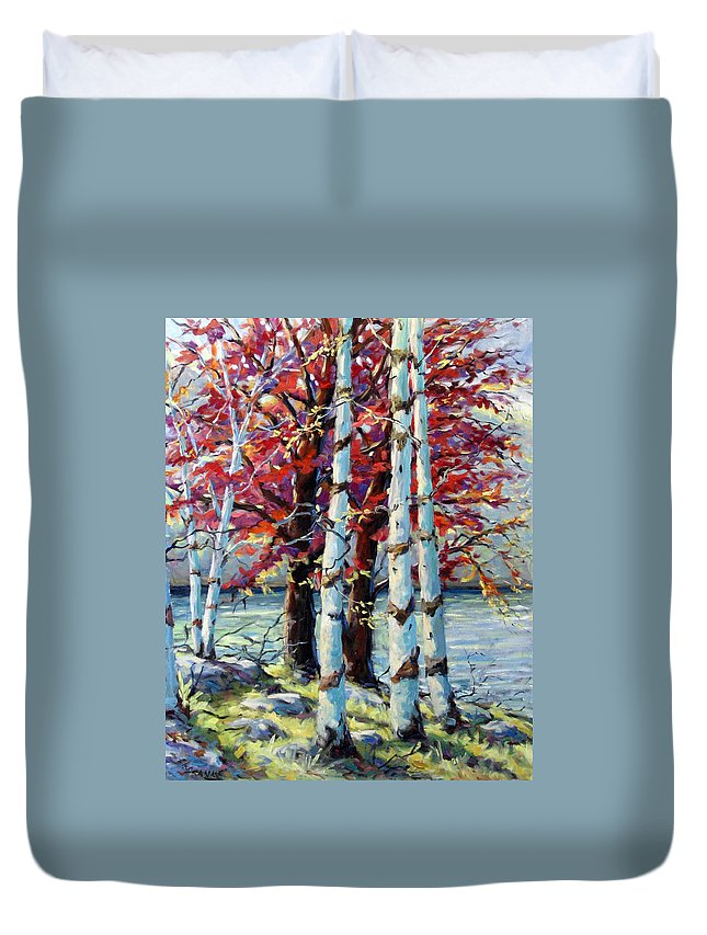 Birches Duvet Cover featuring the painting Red Splash by Richard T Pranke