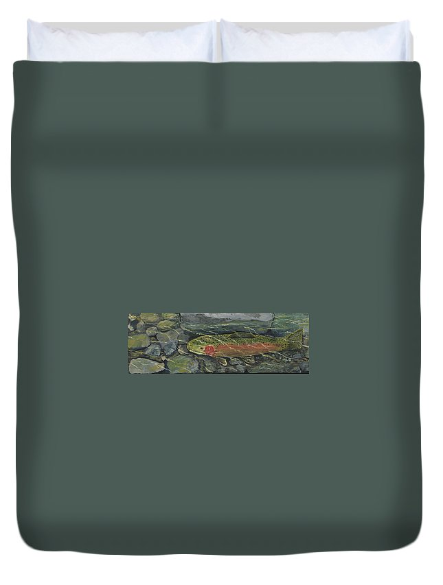 Fish Duvet Cover featuring the painting Red Steelhead by Sara Stevenson
