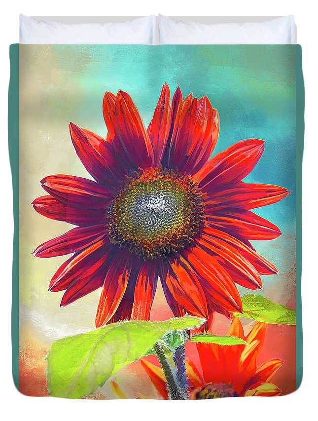 Helianthus Duvet Cover featuring the photograph Red Sunflowers At Sundown by Regina Geoghan