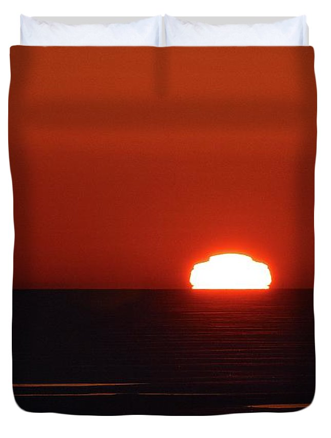 Abstract Duvet Cover featuring the digital art Red Sunrise by Lyle Crump