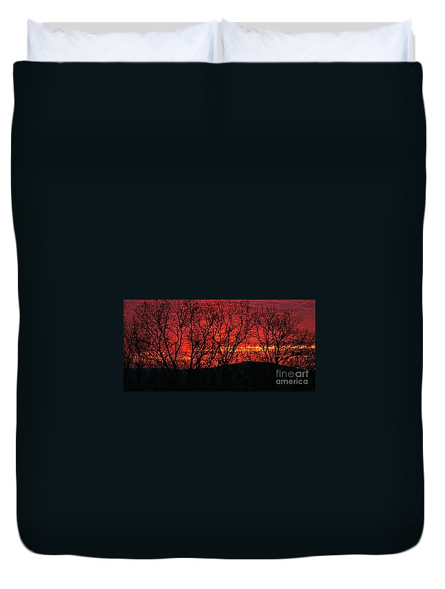 Sunrise Duvet Cover featuring the photograph Red Sunrise Over The Ozarks by Nadine Rippelmeyer
