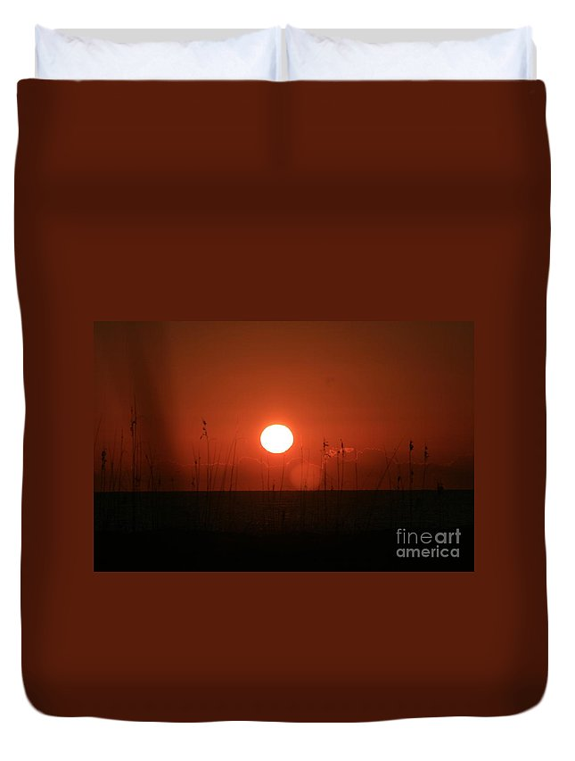 Sunset Duvet Cover featuring the photograph Red Sunset And Grasses by Nadine Rippelmeyer