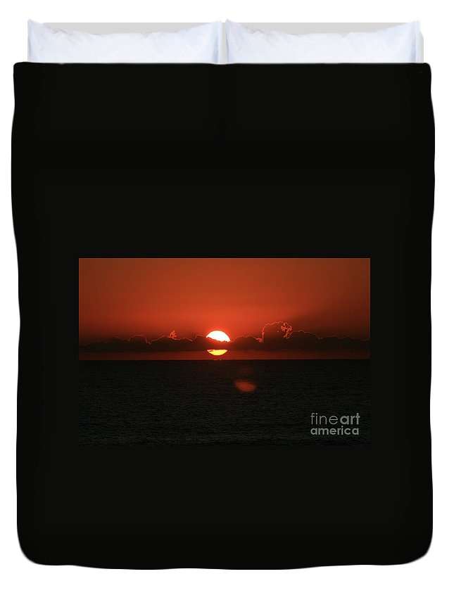 Sunset Duvet Cover featuring the photograph Red Sunset Over The Atlantic by Nadine Rippelmeyer