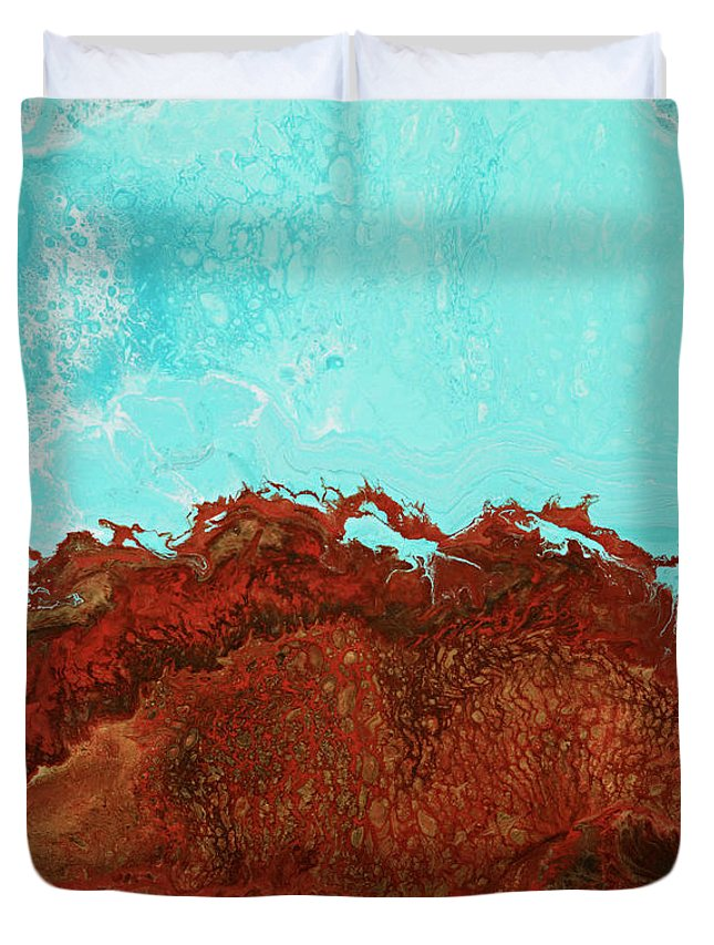 Ocean Duvet Cover featuring the painting Red Tide by Tamara Nelson