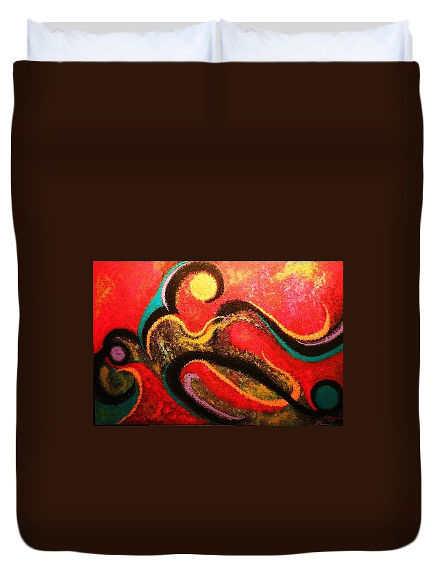 Red Duvet Cover featuring the painting Red Tide by Todd Hoover