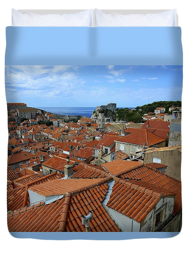 Tile Duvet Cover featuring the photograph Red Tiled Roofs Of Dubrovnik by Clyn Robinson