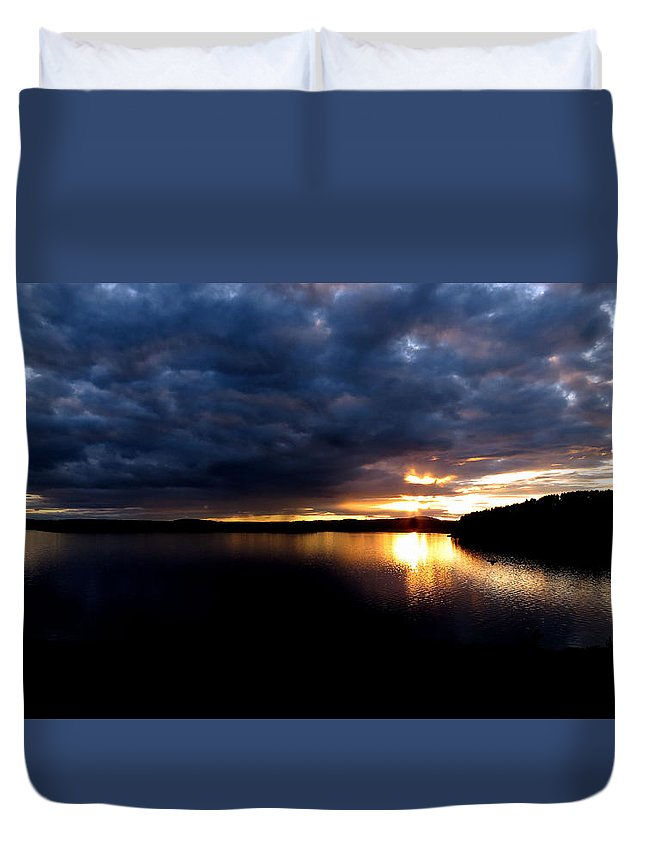 Sunset Duvet Cover featuring the photograph Red Toned Clouds by Ronald Raymond