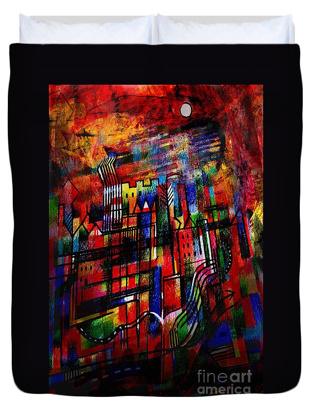 Red Town Duvet Cover featuring the painting Red Town by Andy Mercer
