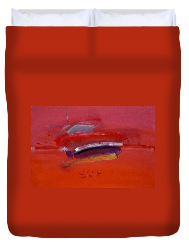 Fishing Boats Duvet Cover featuring the painting Red Trawler by Charles Stuart