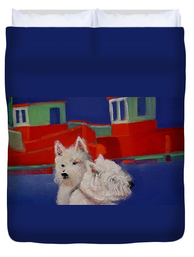 Seascapes Duvet Cover featuring the painting Red Trawlers by Charles Stuart
