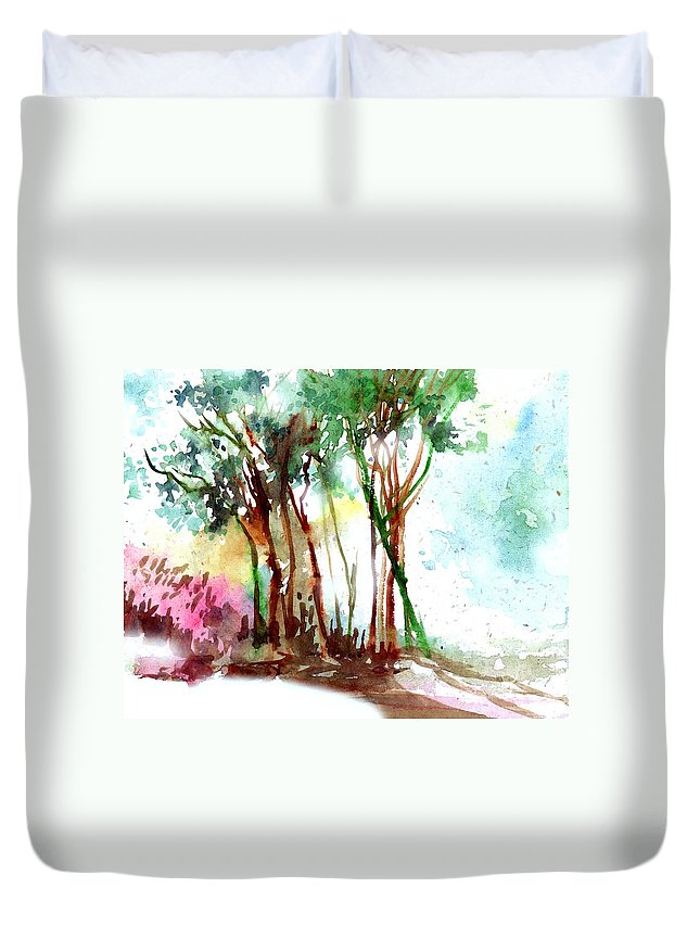 Landscape Duvet Cover featuring the painting Red Trees by Anil Nene