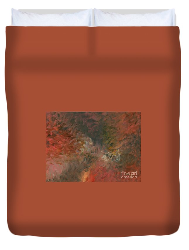 Red Duvet Cover featuring the painting Red Triumph by Nadine Rippelmeyer